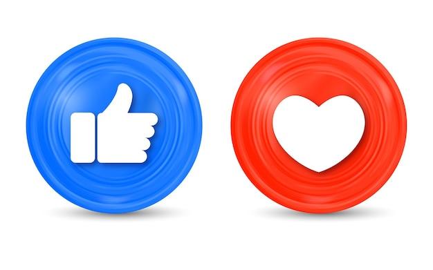 Como botones de amor en un círculo moderno para iconos de notificación de redes sociales