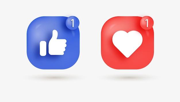 Como botones de amor en cuadrados modernos para iconos de notificación de redes sociales