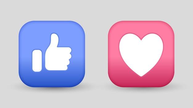 Como botones de amor para los iconos de reacciones de publicación de redes sociales