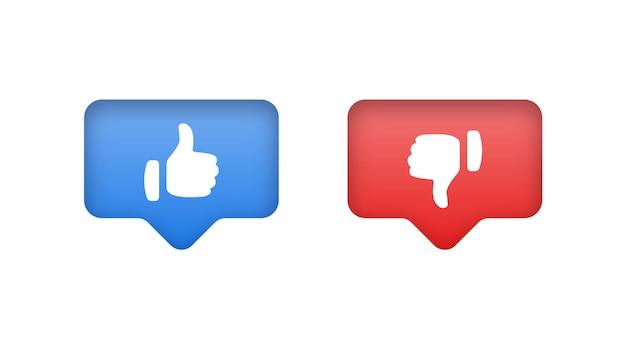 Como botones de disgusto o pulgares arriba hacia abajo en los iconos de notificación de redes sociales de burbujas de discurso moderno