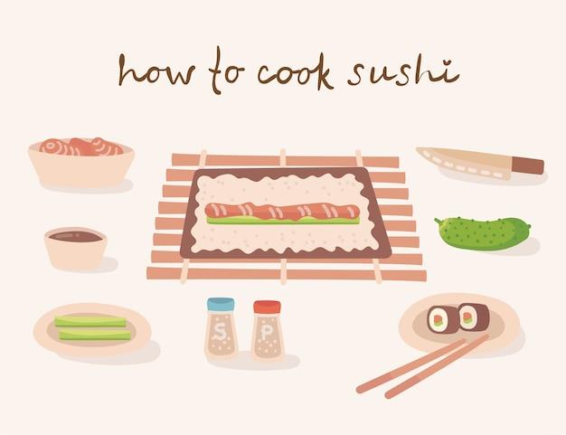Cómo cocinar una ilustración de cocina tradicional japonesa con utensilios de cocina, ingredientes. ilustración en estilo plano