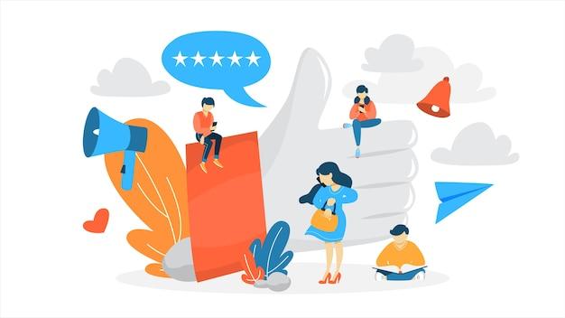 Como concepto. gente pequeña sentada en los enormes pulgares hacia arriba. red social y comunicación online. signo de agradecimiento. ilustración