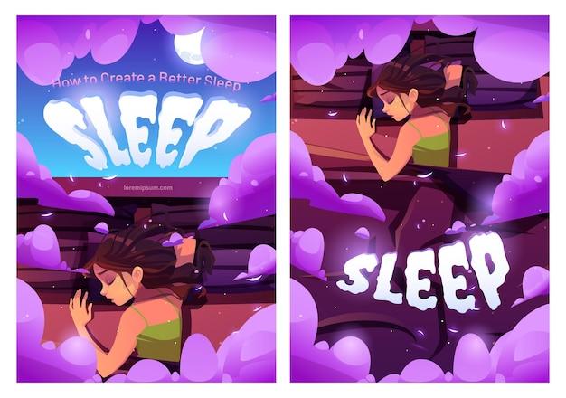Cómo crear un cartel de dibujos animados para dormir mejor mujer joven acostada sobre almohadas en la cama, vista superior