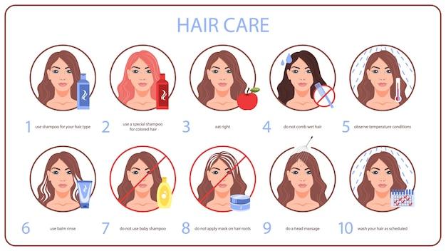 Cómo cuidar las puntas de tu cabello para mujer con cabello largo. lavar y limpiar con champú, no peinar el cabello mojado. ilustración