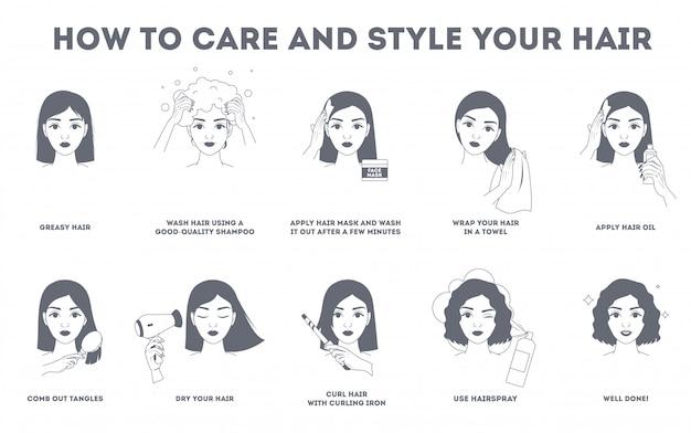 Cómo cuidar tu cabello y peinarlos con instrucciones. procedimiento de tratamiento capilar. seque con secador de pelo, use aceite y mascarilla para la salud. haz rizos con rizador. ilustración de línea