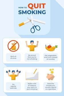 Cómo dejar de fumar cartel infográfico.
