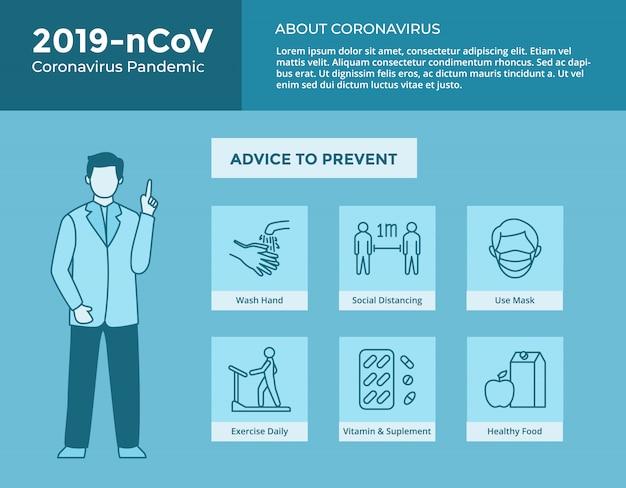 Cómo detener el virus corona con la colección de iconos y el médico da consejos para póster y folleto de plantilla