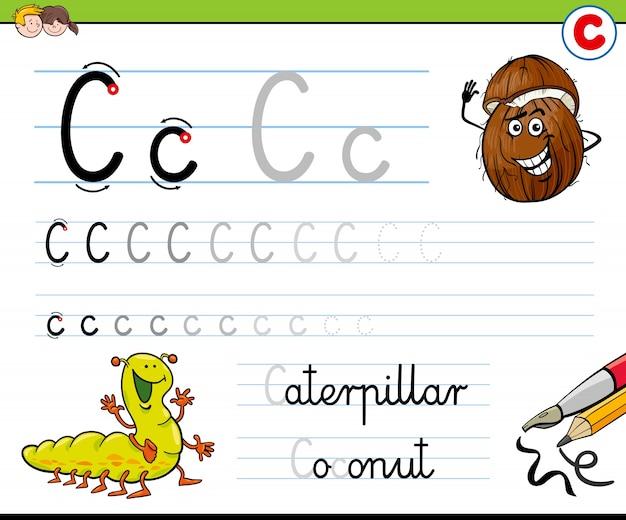 Cómo escribir la hoja de trabajo de la letra c para niños
