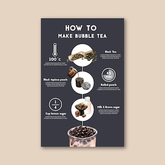 Cómo hacer té de leche de burbujas hecho en casa, contenido de anuncio moderno, ilustración de acuarela.