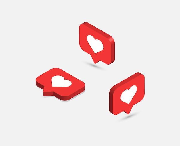 Como iconos isométricos. iconos de notificaciones de redes sociales.