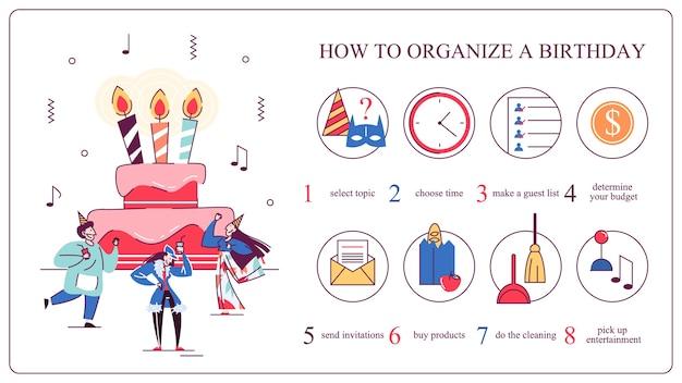 Cómo organizar la fiesta de cumpleaños. elige música y decoración. fiesta de aniversario. ilustración