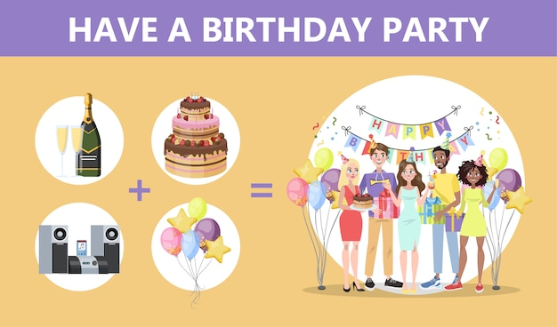 Cómo organizar la fiesta de cumpleaños. gente feliz de celebración con caja de regalo. pastel y alcohol, música y decoración. fiesta de aniversario. ilustración