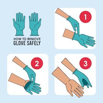 Cómo quitarse el guante de forma segura ilustración vectorial diseño infográfico