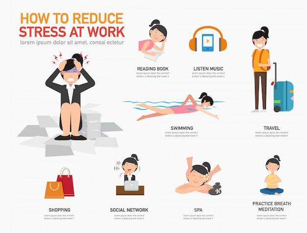 Cómo reducir el estrés en el trabajo ilustración vectorial