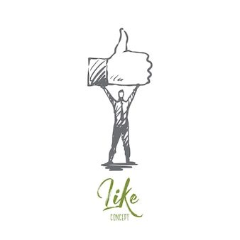 Como símbolo, bien, red, concepto de dedo. persona dibujada a mano mantenga símbolo de boceto de concepto similar.
