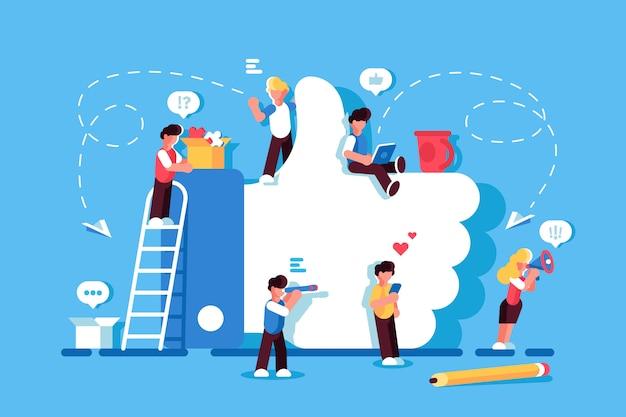 Como símbolo medios de comunicación social. me gusta el concepto. personas que utilizan dispositivos móviles, computadora portátil, tablet pc, teléfono inteligente. red social. blogging ilustración de diseño plano hombres y mujeres se quedan cerca de like. seguidores