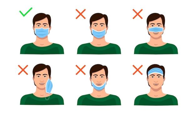 Cómo usar una mascarilla médica correctamente y mal