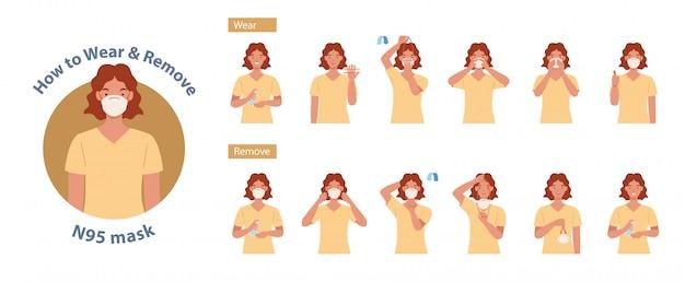 Cómo usar y quitar la máscara n95 correcta. mujeres que presentan el método correcto de usar una máscara, para reducir la propagación de gérmenes, virus y bacterias. ilustración en un estilo plano
