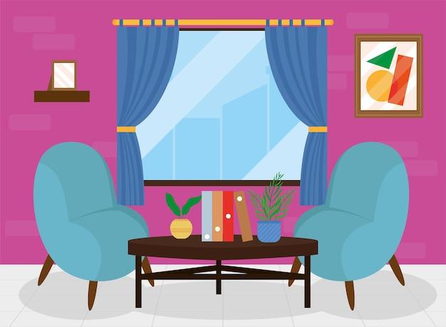 Cómoda casa lounge con sofás azules