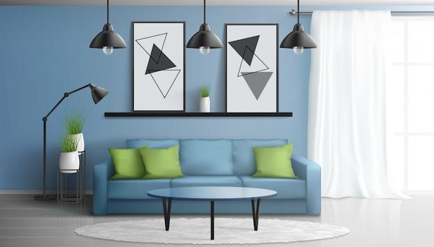 Cómoda casa o apartamento con sala de estar, interior moderno de vector realista en 3d con sofá suave, mesa de centro de vidrio, pinturas en la pared, alfombra blanca en piso laminado, ilustración de ventana grande