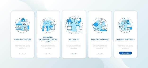 Cómoda pantalla de página de la aplicación móvil de incorporación azul en casa con conceptos.
