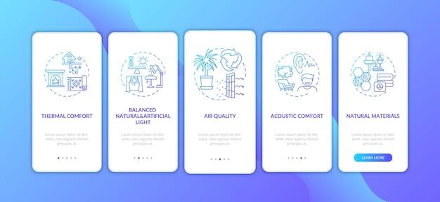 Cómoda pantalla de página de aplicación móvil incorporada degradado azul en casa con conceptos