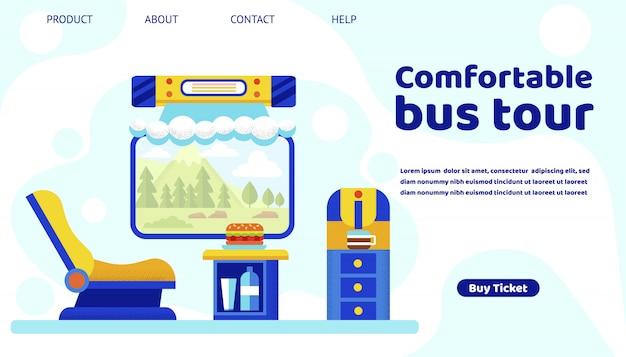 Cómoda plantilla web de la página de destino del bus tour. asiento del pasajero