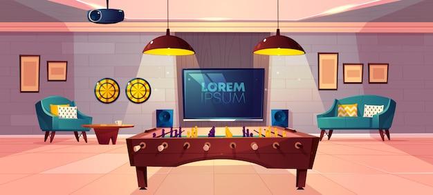 Cómoda sala de recreación para el ocio familiar en el vector de dibujos animados del sótano de la casa con sillón y sofá suaves