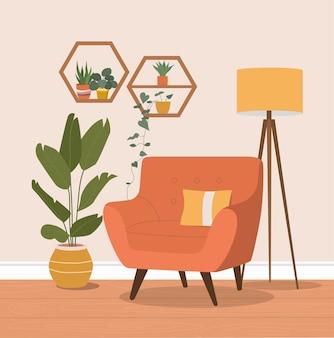 Cómoda silla, lámpara y plantas de interior. ilustración plana