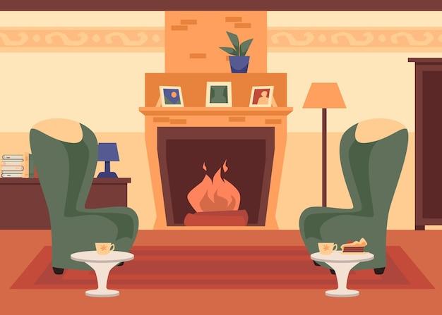 Cómoda superficie interior clásica de la sala de estar con chimenea y sillas, ilustración vectorial plana
