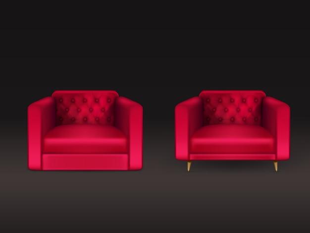 Cómodo chesterfield, lawson, sillones con cuero rojo, tapicería de tela, patas de madera ilustración realista 3d aislado en negro. muebles modernos para el hogar, elemento de diseño interior de la casa