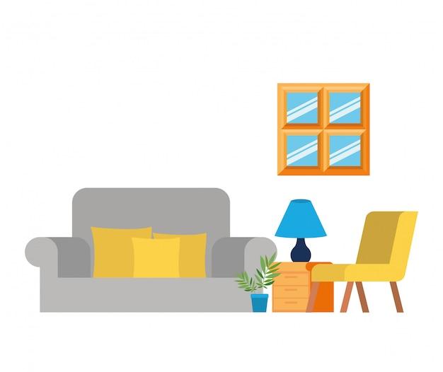 Cómodo sofá en la sala de estar