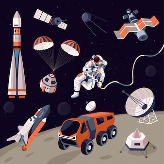 Comos de exploración, maquinaria y astronautas en el espacio ultraterrestre