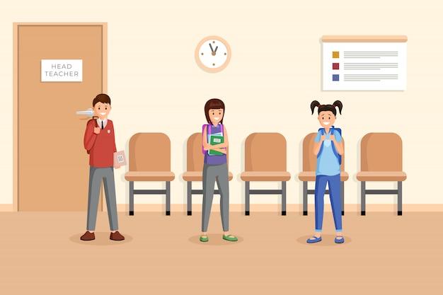Compañeros de clase en la ilustración de tiempo de descanso