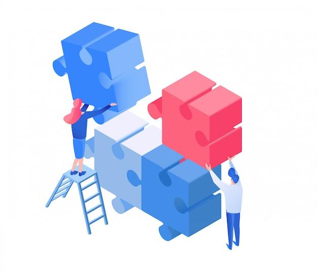 Compañeros de coworking, equipo trabajando ilustración isométrica
