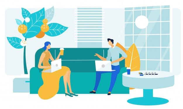 Compañeros de trabajo amistoso hablar plana ilustración vectorial