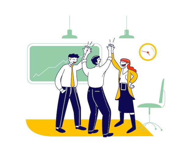 Compañeros de trabajo dando choques en la oficina. logro exitoso del objetivo de la victoria del acuerdo del proyecto. ilustración plana de dibujos animados