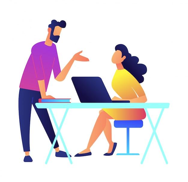 Compañeros de trabajo discutiendo ilustración de vector de proyecto.