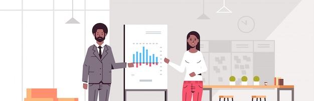 Compañeros de trabajo que presentan el gráfico financiero en el rotafolio pareja de negocios en la reunión de la conferencia haciendo el concepto de presentación moderno interior de la oficina horizontal