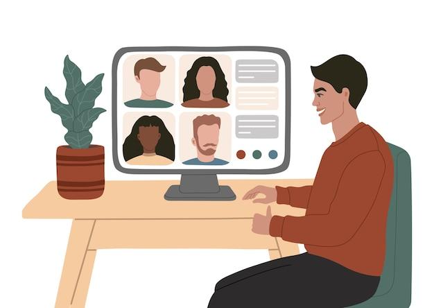 Compañeros de videoconferencia en línea reunidos desde casa