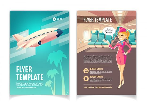 Compañía de líneas aéreas, servicios de agencia de viajes, folleto de dibujos animados o plantilla de páginas de folletos.