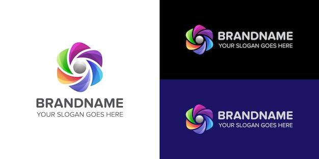 Compañía de plantilla de logotipo abstracto de flores coloridas