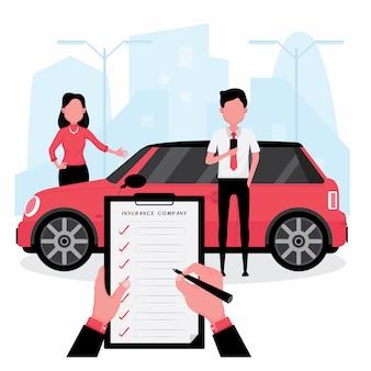 La compañía de seguros de automóviles cuenta con un corredor que escribe la póliza mientras el cliente está al lado del automóvil
