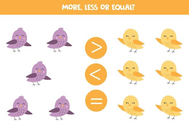 Compara cuántas aves hay. más o menos.
