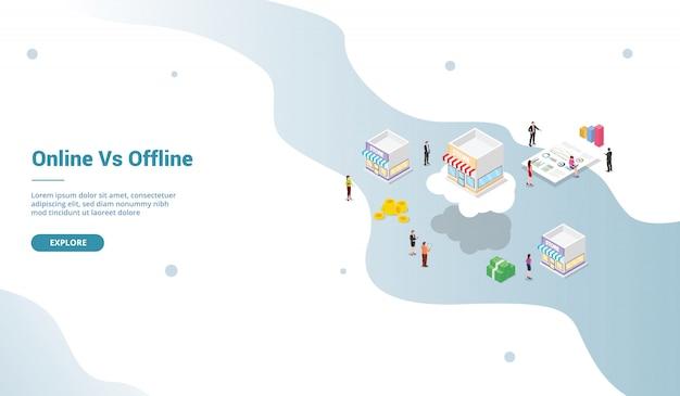 Comparación comercial de la tienda en línea versus fuera de línea con un estilo isométrico moderno para la plantilla de página de inicio del sitio web