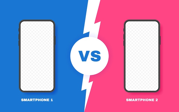 Comparación de dos teléfonos inteligentes diferentes. vs fondo con relámpago para comparar. ilustración.