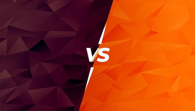Comparación o batalla versus pantalla en estilo low poly