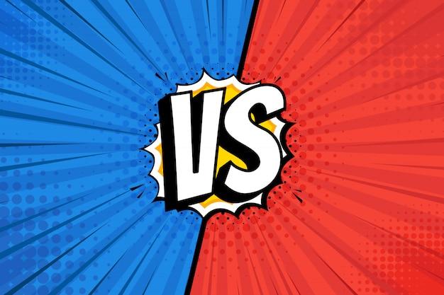En comparación con la pantalla. lucha contra fondos cómicos entre sí, rojo contra azul marino. ilustración.