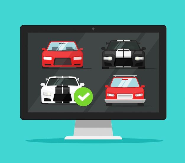 Comparación del sitio web de la tienda de internet de vehículos de alquiler de computadoras de pc con la elección de automóviles