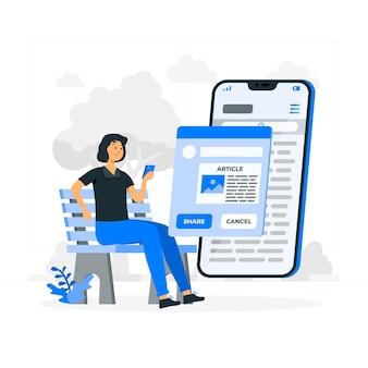 Compartir artículos ilustración del concepto